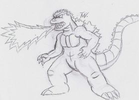 Godzilla Sketch by SuperGon-64