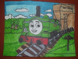 Duck Great Western Engine Artwork Drawing by NWeezyBlueStars23