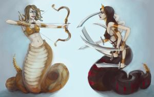 Naga and Medusa by Aloira