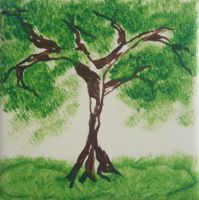 Tile painting #3: The Tree by letmeusemyname