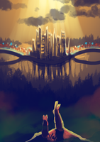 Spirit World City - 50 minutes speedpaint by Mantina
