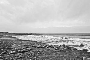 Black and White View Trecco Bay Beach Nov 2011 by welshrocker