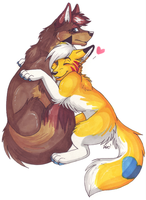 Coyote hugs by CelestialWolfen