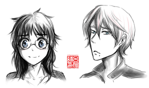 hairswap makisaka sketch by Cheppoly
