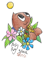Brown Chao in Flowers by WarHexpod