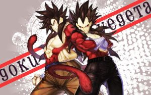 SS4 - Goku and Vegeta by shamelesXintentions