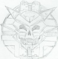 Realistic pencil drawing of the Sinistar by skullmetalloid