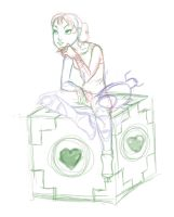 WIP Chell on Companion Cube by Andi1990