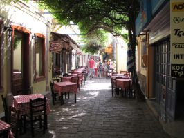 Cozy street in Greece by BlackLeatheredOokami