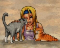 Millia and Cats by BeagleTsuin