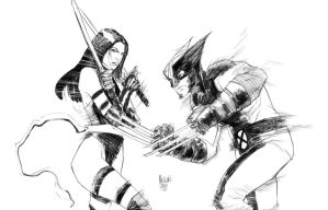 Psylocke and Wolverine by kevinmellon