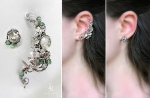 Sterling silver ear cuff and stud Pond by JSjewelry