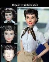 Roman Holiday Audrey Hepburn custom doll repaint by noeling