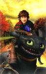 Hiccup and Toothless with a mystery NightFury Egg by Robono