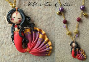 Oriental dancer mermaid polymer clay by Nakihra