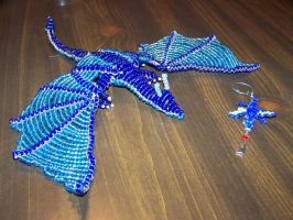 Blue Dragon and Keychain by StarfireDragons