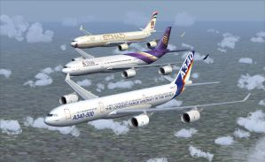 Airbus A340-500 Formation 3 by B737TheAirliner