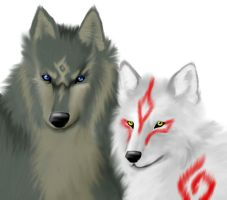 Amaterasu and Wolf Link by RandomSmileyCat