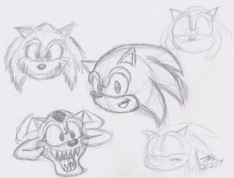 Sonic sketches by JamesTheDalmatian