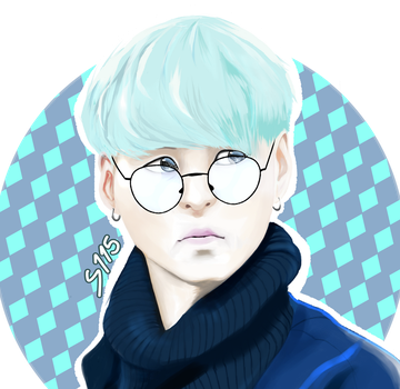 SUGA [Min Yoon Gi] - Green hair by MaggotPsycho115