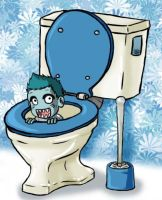 the shark in the toilet by Tilya