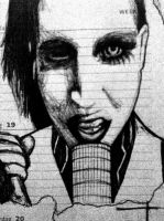 Another quick pen sketch- marilyn manson by evelynsixx