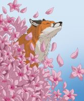 Fox in flowers by PrinzeBurnzo