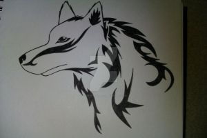 Tribal Wolf Tattoo Design by Rock-N-Roller14