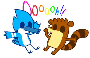 mordecai and rigby chibi by kitttyalicorn