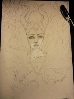 |Traditional WIP| - Maleficent by Arienee-Chan