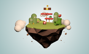 Low-Poly Super Mario Island by BStevenson