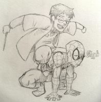 Harry Potter riding Spider-man by Kelden17