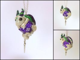 Pearl, Purple and Green D20 Dice Dragon Necklace by Euphyley