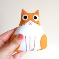 Fat orange and white cat plush by yael360