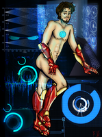 Stark Naked: Tony Pinup by AiwenStarr