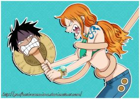 Luffy and Nami by Perfectionxanime