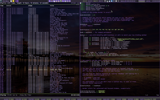 Xmoand - Xfce4 - MPD - VIm by crimesaucer