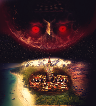 Majora's Mask. the World and it's Moon. by FlyingGinger