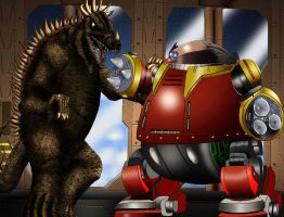 Anguirus vs. the Death Egg Robot by Adiraiju