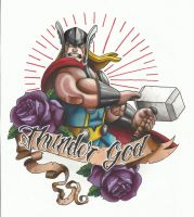 Thor tattoo design Colour by funkt-green