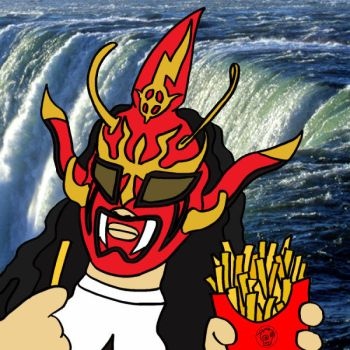 Jushin Liger Eating French Fries At Niagara Falls by EscoZG