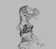 Anime girl made out of trees by Miwr