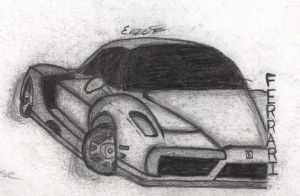 Enzo Ferrari Sketch by Lotay