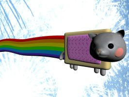 Nyan Cat Breaks Through by celloismistic