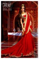 Red Indian Saree gown 2 by Nigelchia
