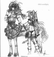 Huntmaster Centaur and Sea Elf by LucasFlicky