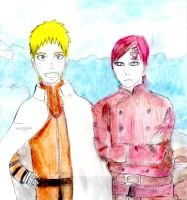 Naruto and Gaara-Finished drawing by Fran48