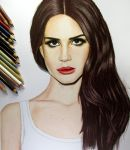 Lana Del Rey Colored Pencil Drawing by JasminaSusak