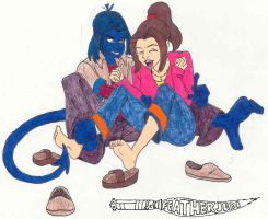 Nightcrawler tickles Shadowcat by FeatherJedi