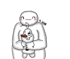 Baymax and Olaf are both hugging together! by Bunnie67
